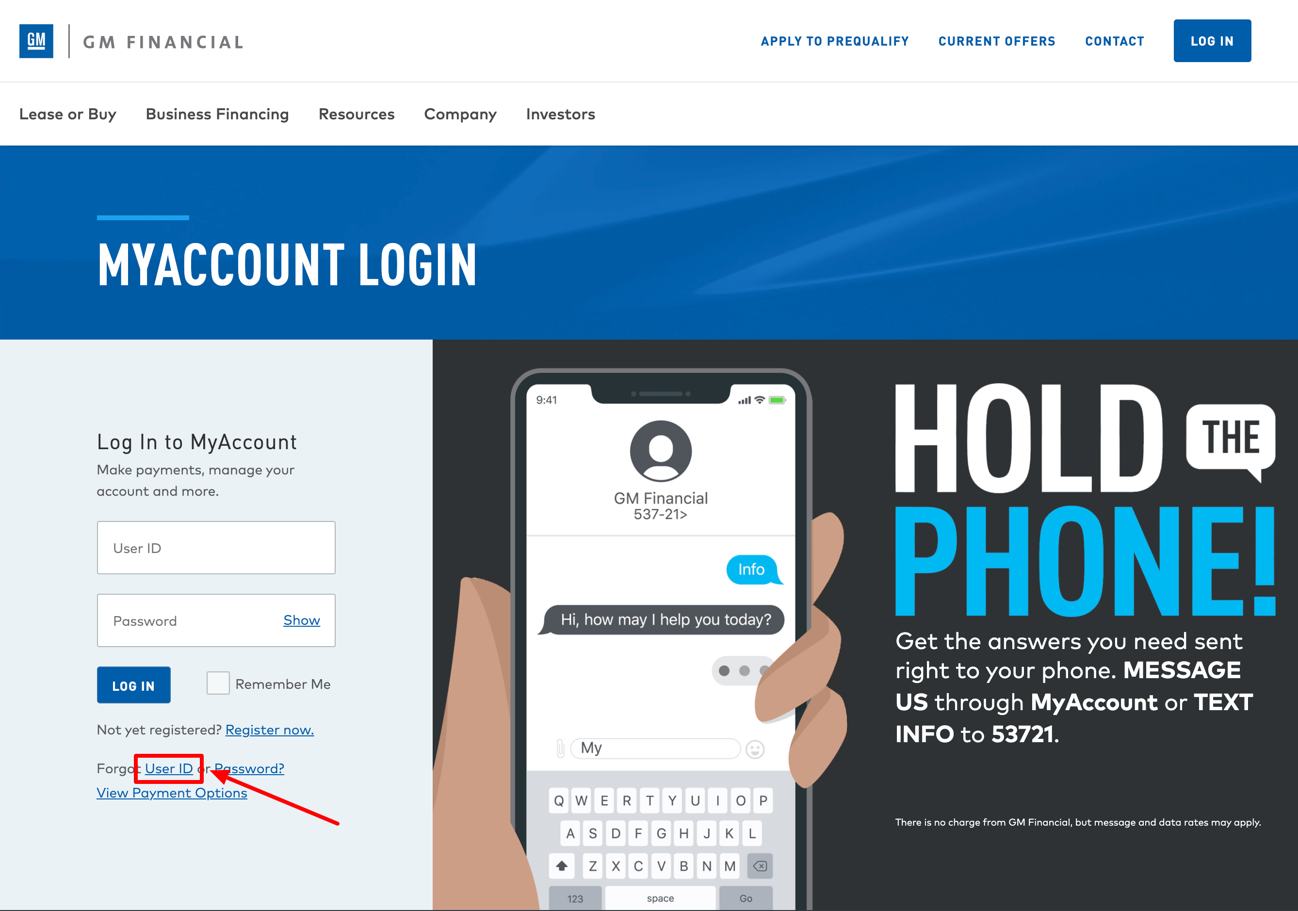 GM Financial myaccount login